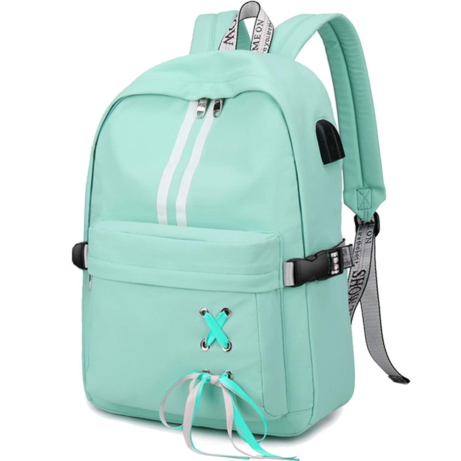 CAMTOP School Laptop Backpack USB College Backpack Casual Travel Daypack with Luggage Strap for Women Girls (Mint Green) by CAMTOP