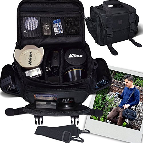 Deluxe Slr Carrying Case (Deluxe Large Digital Camera / Video Padded Carrying Bag / Case for Nikon, Sony, Pentax, Olympus Panasonic, Samsung, and Canon DSLR Cameras & eCostConnection Microfiber Cloth)