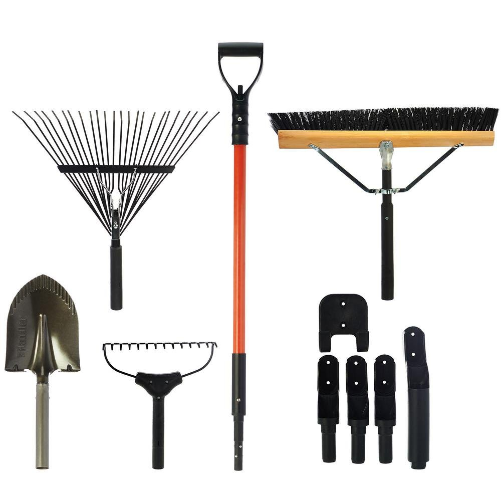 The Handler System Lawn and Garden 5-Piece Tool Set with Garage Storage System
