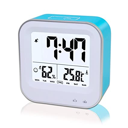 Travel Alarm Clock Rechargeable, Samshow Small Digital Desk Clock with Temperature, Humidity, Week, 12/24h Display, Snooze, Sensor Backlight Loud Alarm for Heavy Sleepers, Teens,Kids (Blue)