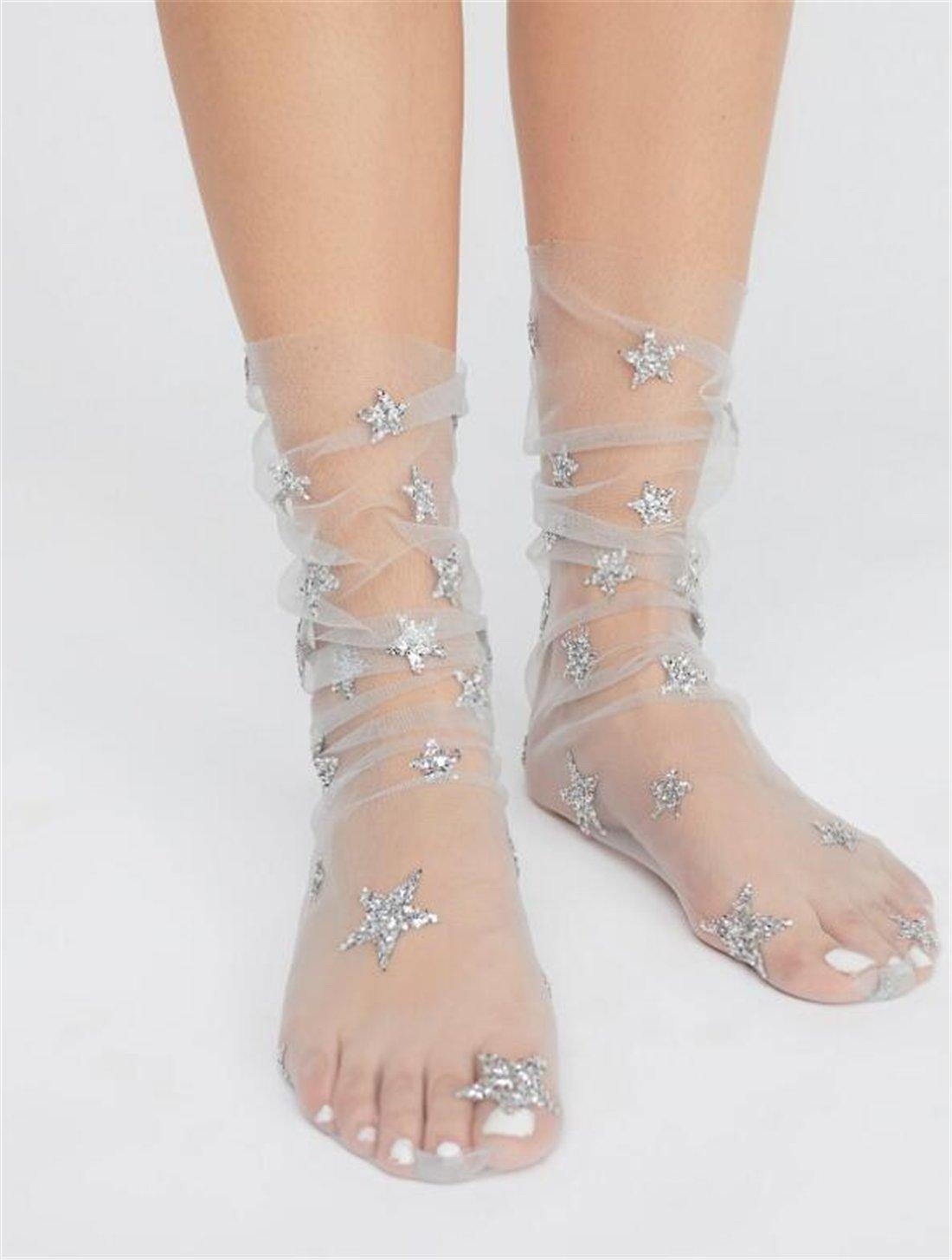 Tmrow 1pair Womens Stars Sparkle Ankle Socks Sheer Slouch Mesh Glitter Socks,Pink