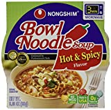 NongShim Bowl Noodle Soup, Hot and Spicy, 3.03 Ounce (Pack of 6)