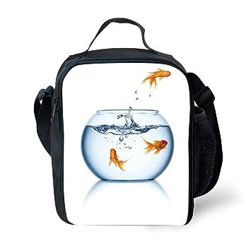 IPrint - Acuario escolar, diseño de pez dorado saltando fuera del pecera, color azul naranja y blanco para niñas o niños lavable: Amazon.es: Hogar