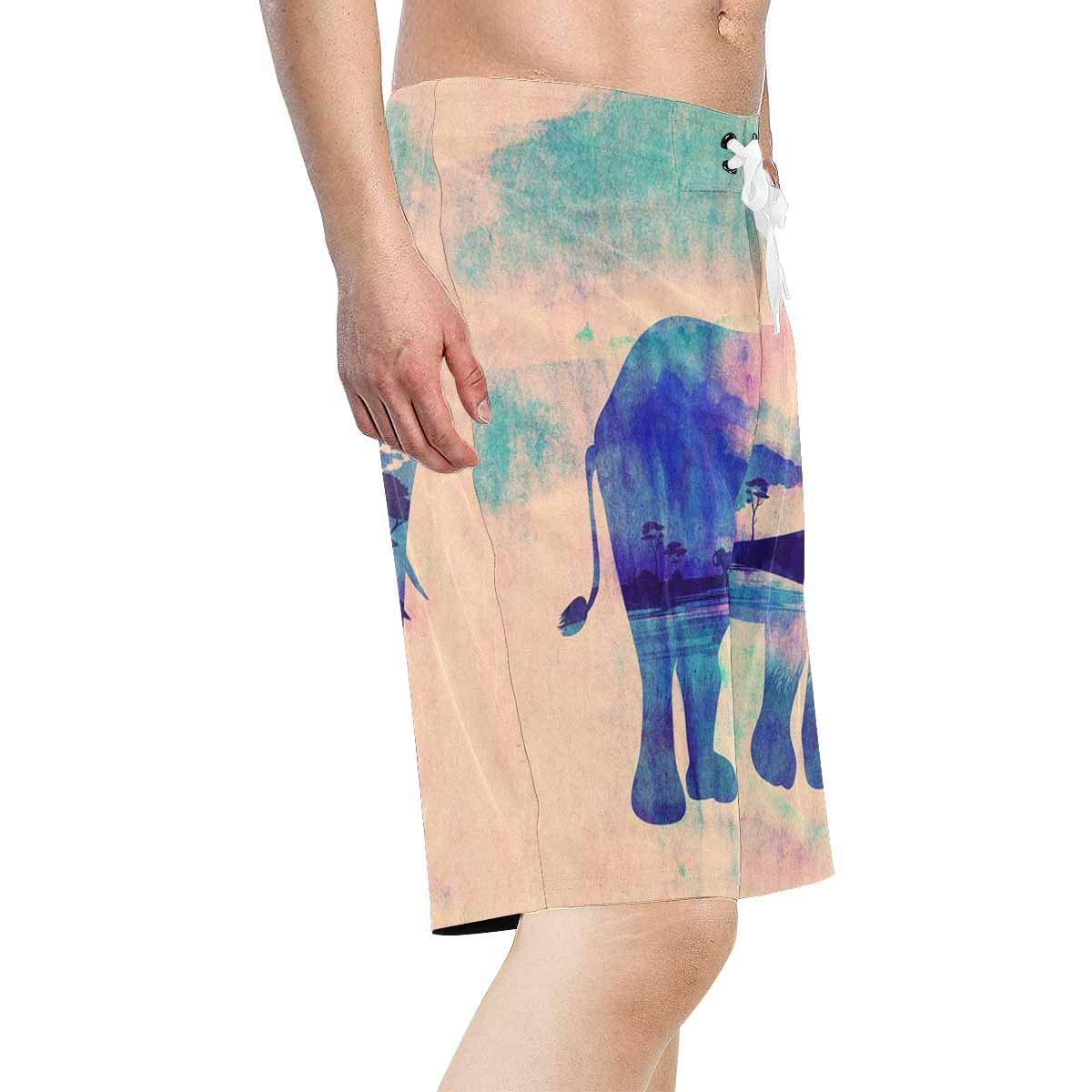 XS-6XL INTERESTPRINT Mens Water Shorts Colorful Trees Elephant Quick Dry Beach Shorts