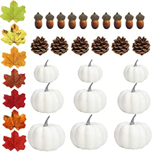 Small White Plastic Pumpkins for Decorating - 12pcs DIY Assorted Size Mini White Foam Pumpkins for Crafts, Added 100pcs Artificial Fall Leaves 10pcs Acorns and 6pcs Pinecones for Autumn Pumpkin Decor