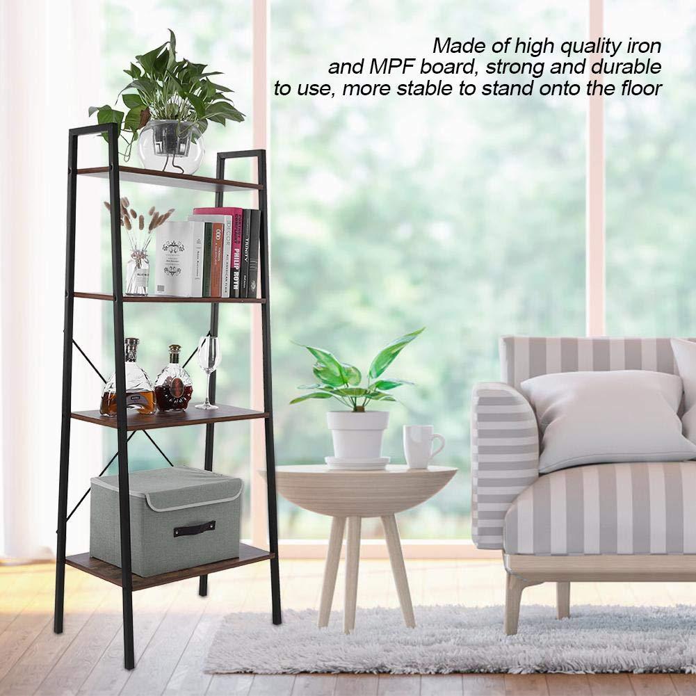 Yosoo Ladder Shelf 4-Tier Bookshelf Multifunctional Storage Rack Shelf for Home Living Room Bedroom