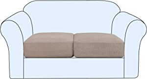 H.VERSAILTEX High Stretch Individual Seat Cushion Covers Sofa Slipcovers Couch Cushion Covers Sofa Covers Featuring Jacquard Textured Twill Fabric (2 Pack for 2 Cushion Loveseat, Sand)