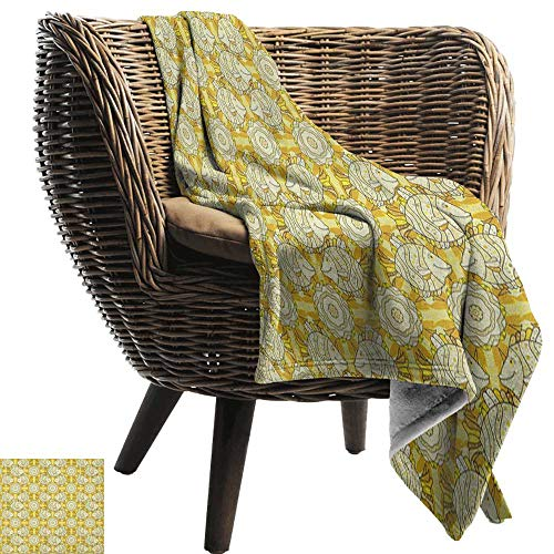 (AndyTours Summer Blanket,Yellow and White,Aquarium Fishes with Stripes on Floral Composition Background, Marigold Beige Yellow,Lightweight Breathable Flannel Fabric,Machine Washable 50