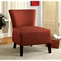 Furniture of America Tangiers Contemporary Upholstered Accent Chair, Red