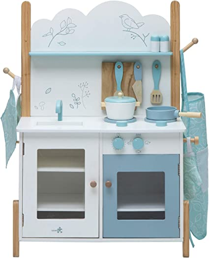 Amazon Com Labebe Kids Wooden Pretend Kitchen Playset Toddler Play Kitchen Set Cupboard Groceries Pretend Food And Role Play For Children Boy Girl Bird Print White Blue Toys Games