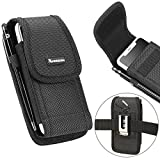 xhorizon SR Heavy Duty Rugged Holster Nylon Carrying Phone Case with Belt Clip Holstor and Carabiner Hook for iPhone XSmax 8plus 7plus 6plus and Other Under 5.5 inch (Fits cellphone with protective case)