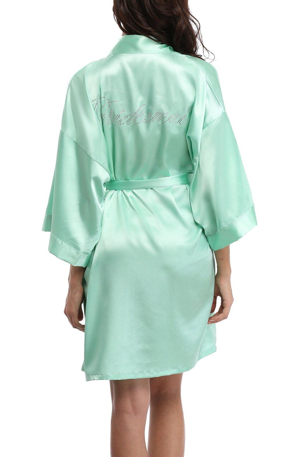 WitBuy Women's Short Satin Kimono Robe Pure Nightgown Wedding Bridesmaid Gift Mint Green M