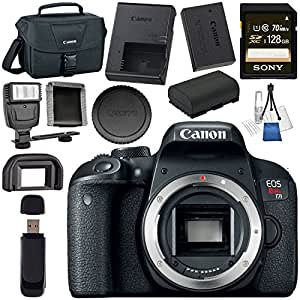 Canon EOS Rebel T7i DSLR Camera (Body Only) 1894C001 + Sony 128GB SDXC Card + LPE-17 Lithium Ion Battery + Universal Slave Flash unit + Lens Cleaning Kit + Canon 100ES EOS shoulder bag Bundle
