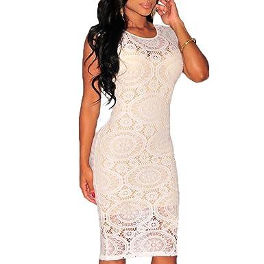 b6b5797ac828 ABILIO - vestito donna nero tubino pizzo elegante abito bianco cerimonia  vestitino festa BIANCO Taglia unica  Amazon.it  Abbigliamento