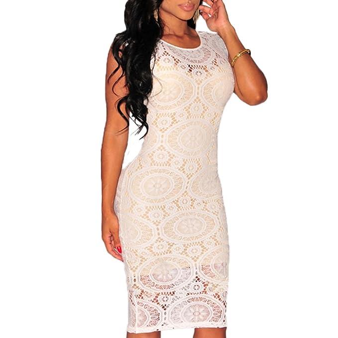 sports shoes 75304 0a565 MYWY - Abito Donna Nero Tubino Pizzo Elegante Vestito Bianco Cerimonia  Vestitino Festa