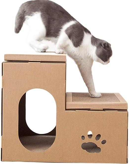 MeiHao DIY Cartón Casa Cat Casa Scratcher Cama Cueva Nido Lounge, Gato Gatito Cartón de Papel Rasguño Rasguño Tablero Pad Centro para Actividades para Mascotas en el Interior Centro de Actividades: Amazon.es: