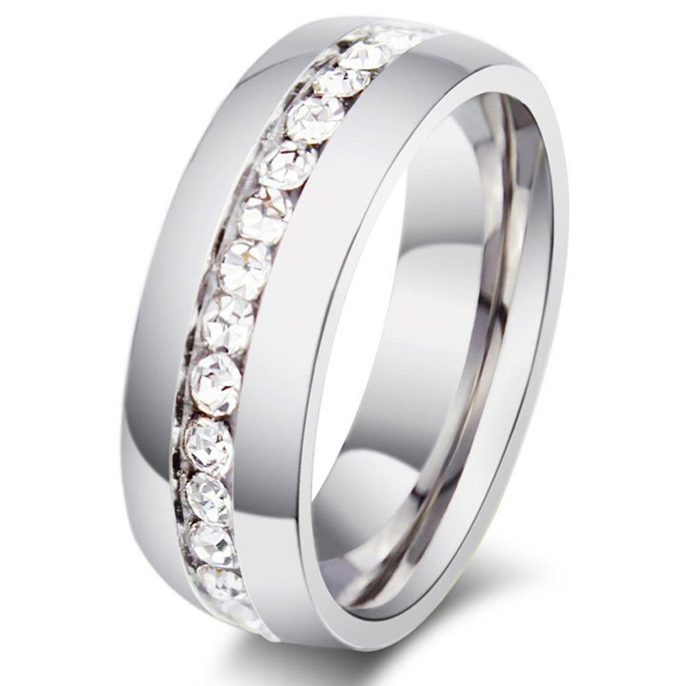Zealmer Titanium Created Crystal Wedding Band Ring Silver Tone