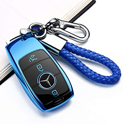 Longzheyu for Mercedes Benz Key Fob Cover, Key Fob Case for Mercedes Benz C E M S CLS CLK GLK GLC G Class Premium Soft TPU Full Cover Protection Smart Remote Keyless Key Fob Shell,Blue: Automotive
