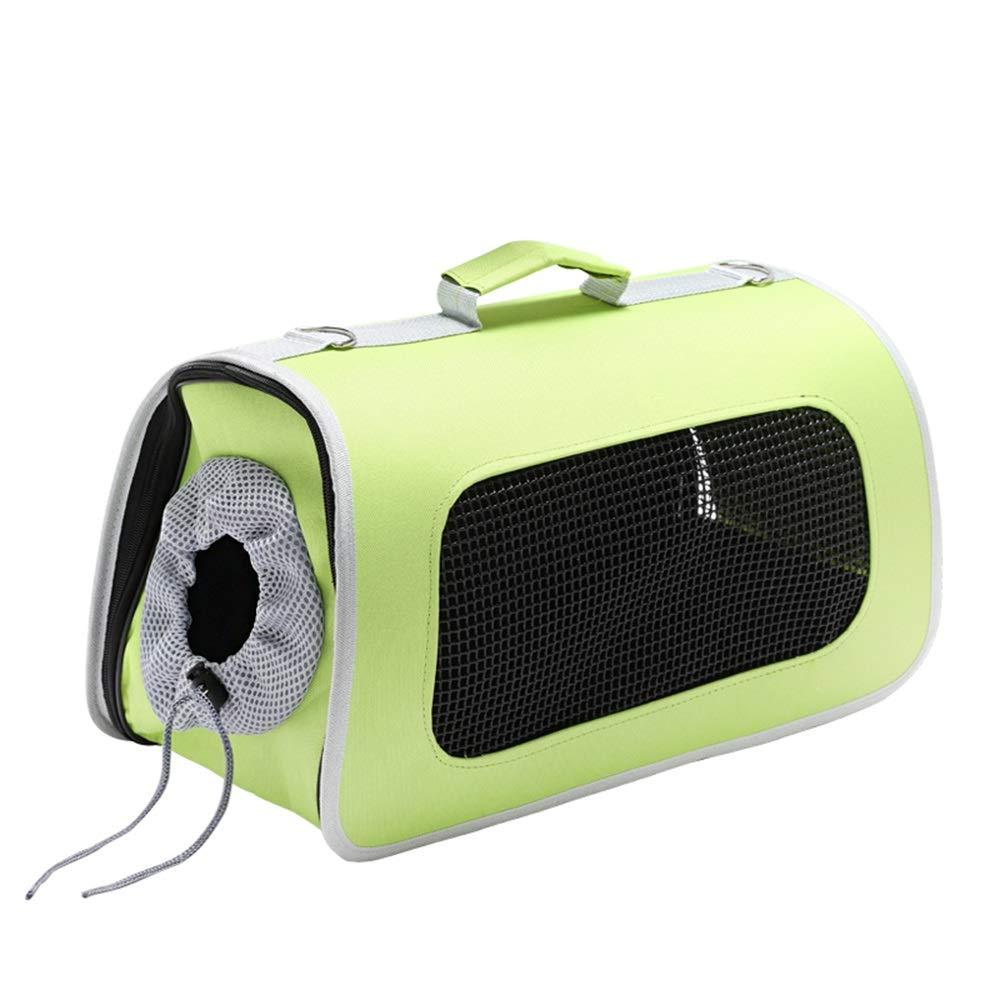 GREEN M GREEN M Pet Bag Breathable Predective Cover Cat Bag Outcrop Design Portable Travel Pet Supplies Messenger Bag (color   Green, Size   M)