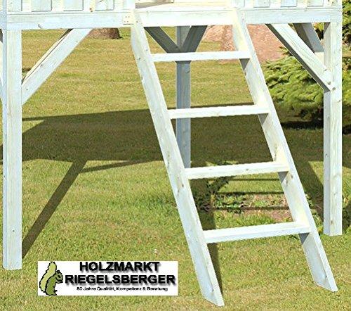 Holzleiter für alle Spielhäuser 140x55x12 cm Treppe Holztreppe für Podesthöhe 120 cm, Fichte naturbelassen, Leiter von Gartenwelt Riegelsberger von Gartenwelt Riegelsberger