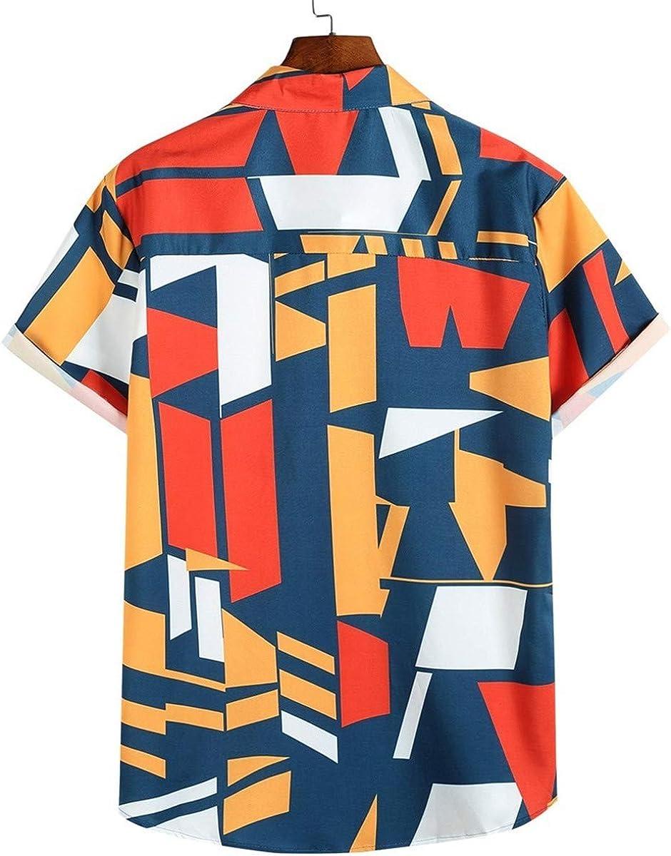 Thenxin Mens Cotton Button Down Short Sleeve Shirt Colorful Geometric Printed Hawaiian Tops