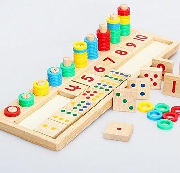 Highdas conde de madera y números coinciden, Montessori Material de clasificación y almacenaje Juguetes, Matemáticas bloques de forma Perilla Clasificador de rompecabezas de aprendizaje para niños: Amazon.es: Juguetes y juegos
