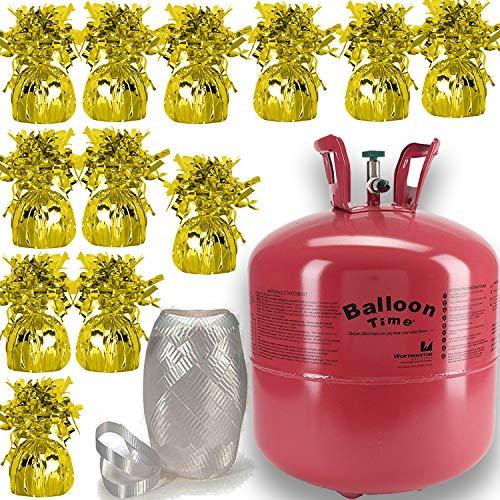12 Balloons Helium - Helium Tank + 12 Balloon Weights, Gold, 5.5