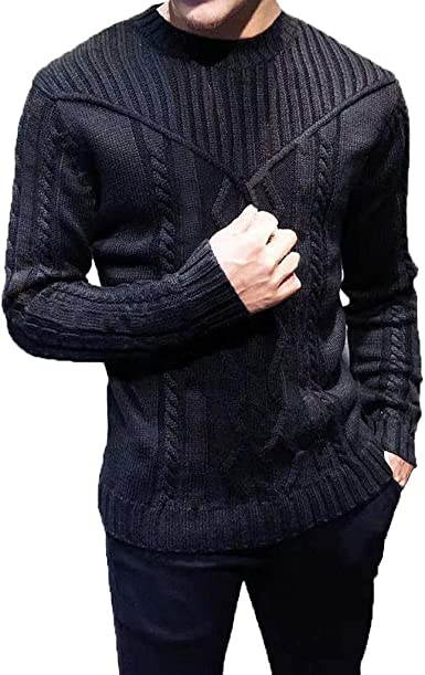 ARTFFEL Mens Winter Color Block Long Sleeve Knitting Cotton Casual Crew Neck Pullover Sweater