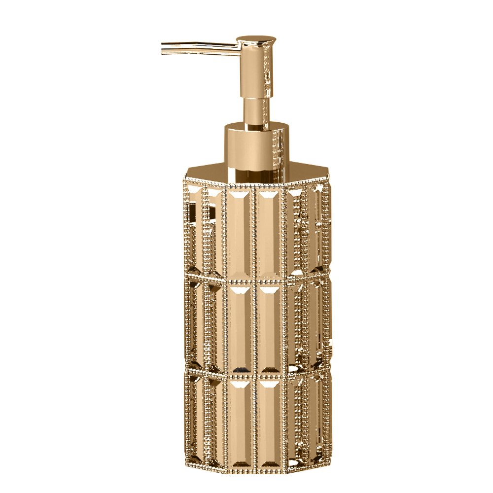 nu steel GLT6GH Glitz Collection Liquid Soap & Lotion Dispenser Pump for Bathroom or Kitchen Countertops, Resin with Rich Gold Finish