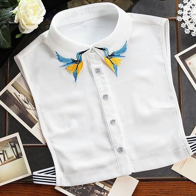 Vococal Collar de Camisa Falso, Collar Falso Patrón Elegante de los Pájaros Bordados Collar de Gasa para DIY Vestido Blusa para Mujer