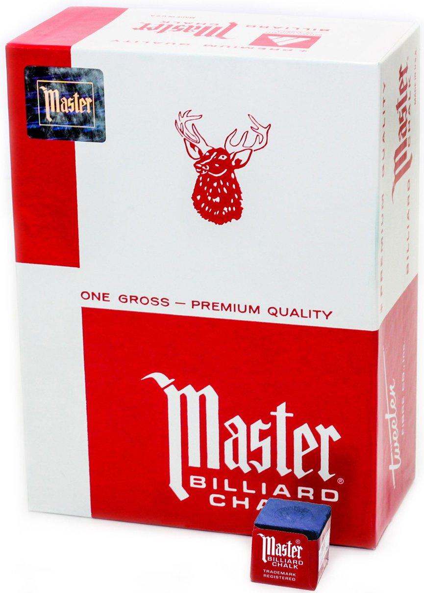 Master Billiard/Pool Cue Chalk, Gross Box, 144 Cubes, Blue