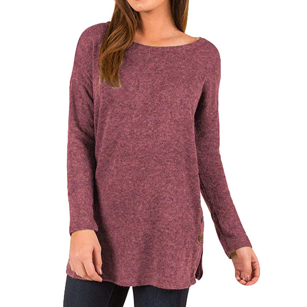 Rovinci_Women Plus Size T-Shirts Loose Sweater Button Side Long Sleeve Tunic Top Basic Sweatshirt Casual Pullover