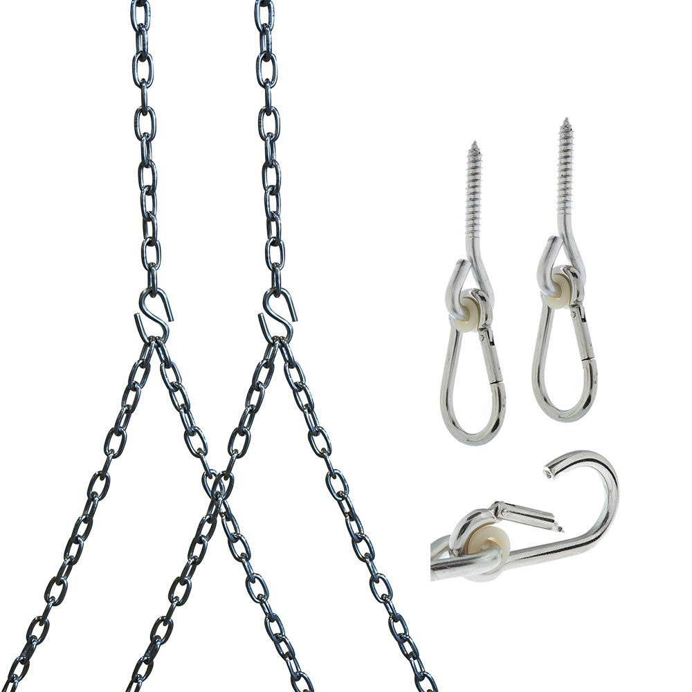 Barn-Shed-Play Heavy Duty 700 Lb Stainless Steel Porch Swing Hanging Chain Kit (10 Foot Ceiling)