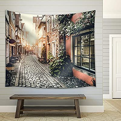 Made For You, Delightful Picture, Old Town in Europe at Sunset with Retro Vintage Filter Effect Fabric Wall