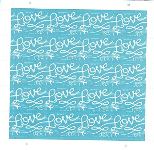 Love Skywriting USPS Forever First Class Postage Stamp U.S. Celebrate Love New Issue Valentine's Day Sheets (Sheet of 20 Stamps) (1 Pack)