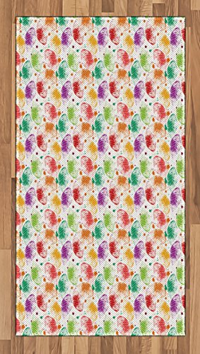 Cheap  Lunarable Paint Area Rug, Foliage Leaves Blots with Retro Vibes Worn Looking..