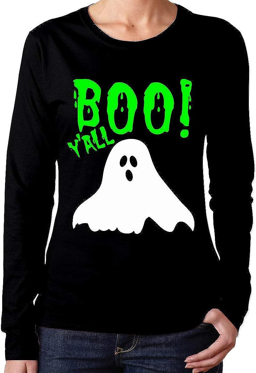 Boo Yall Halloween Womens Crew Neck Long Sleeve Tshirt Tops