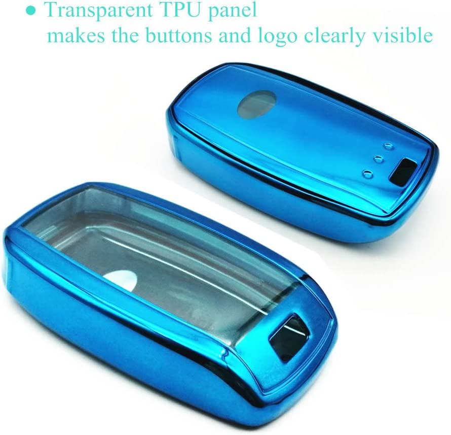 Blue TPU Key Fob Cover Case Holder Skin Protector with Keychain for Kia Forte Optima Rio Sedona Sorento Soul Sportage 3 4 Buttons Keyless Entry Remote Control