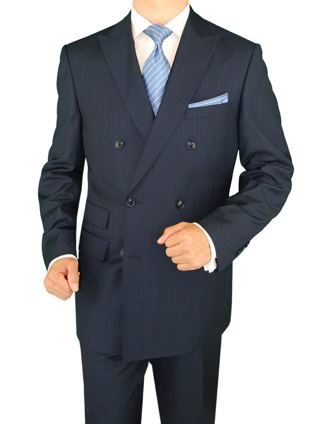 Gino Valentino 2 Piece Men's Double Breasted Ticket Pocket Stripe Navy Suit (40 Regular US / 50 Regular EU)