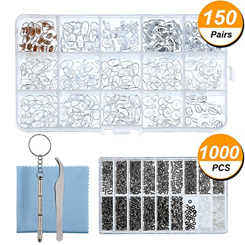 Sumind Eyeglass Repair Kit 150 Pairs Eyewear Nose Pads Set and 1000 Pieces Screws Nut Washer with Tweezers Screwdriver and Cleaning Cloth