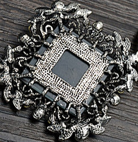 Womens Gorgeous Champagne Rhombus Pendant Long Sweater Necklace Vintage Black Chain 30