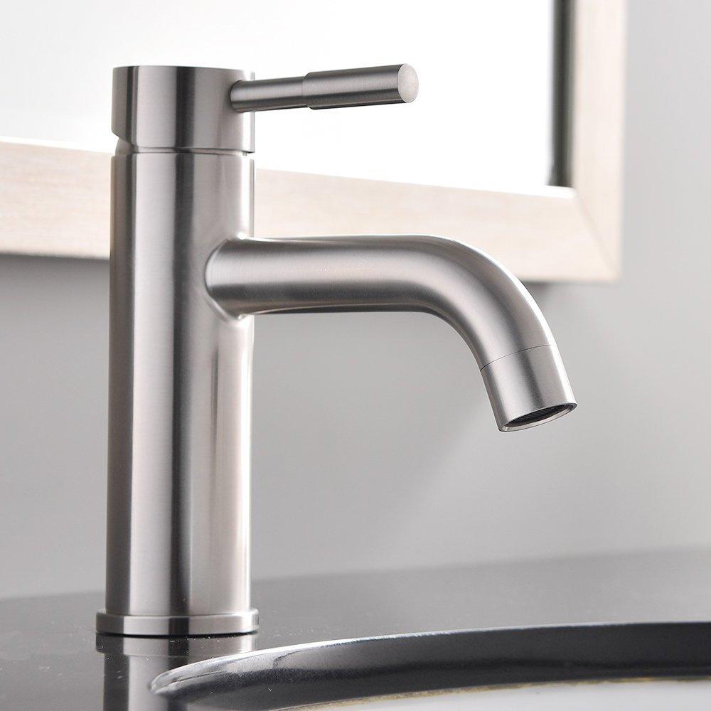 Comllen Modern Brass Single Handle Stainless Steel Bathroom Vessel Sink Faucet Lavatory Sink