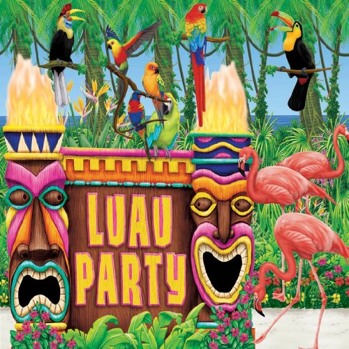 Amscan Sun-Sational Summer Luau Party Tropical Tiki Giant Scene Setters Wall Decoration, Vinyl, Pack of 6 for cheap