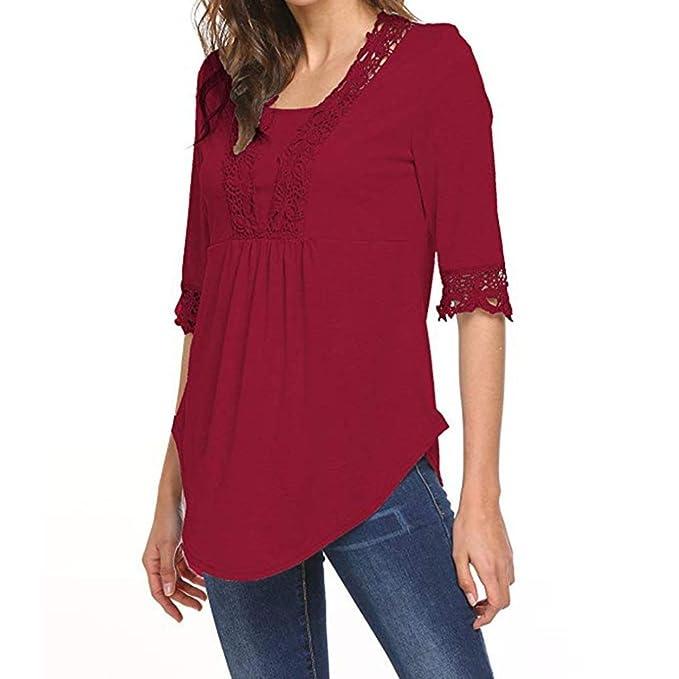 Tops de Media Manga Casual para Mujer O Cuello Camiseta Blusas Túnica Camisas de Blusa ❤ Manadlian: Amazon.es: Ropa y accesorios