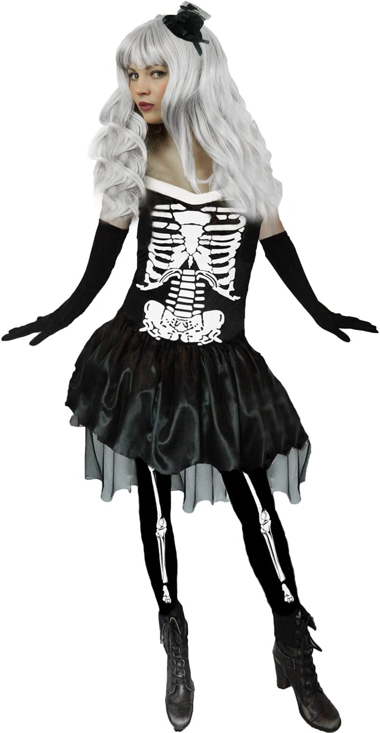 Ladies Skeleton Bones Dress Halloween Horror Fancy Dress Outfit Womens