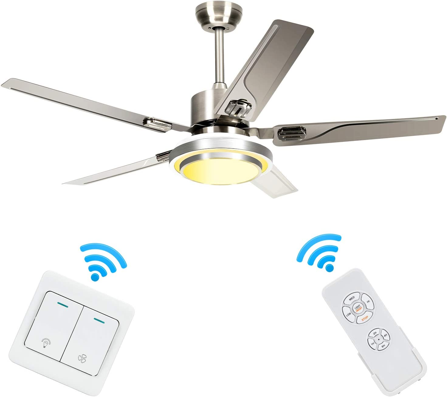Modern Ceiling Fans with Light, Reversible, 5 Stainless Steel Blades, Three Speeds 3 Light Changes, Indoor, Silent, Energy Saving, Home Decor, 48 Inch
