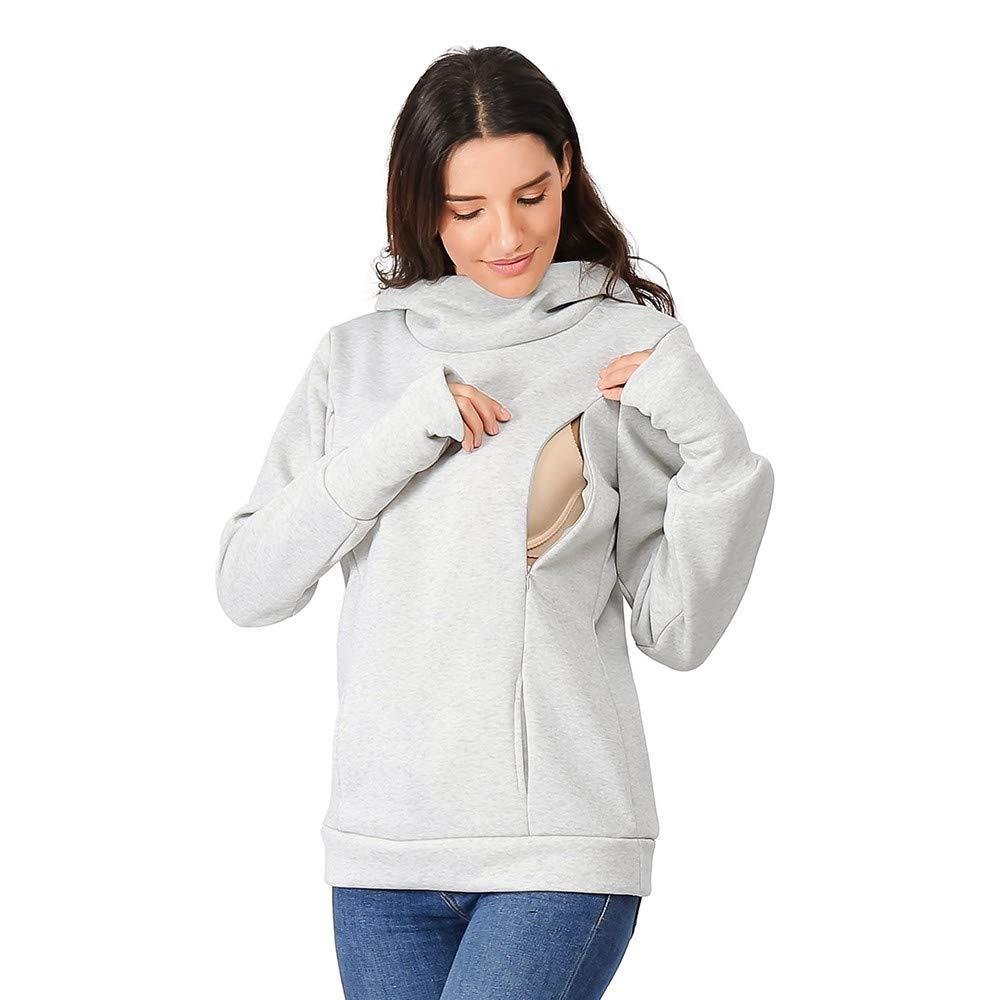 Women's Maternity Warm Long Sleeve Hoodie Breastfeeding Tops Shirt Nursing Sweatshirt Blouse Pockets Aritone women blouse