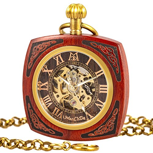ManChDa Roman Copper Wooden Steampunk Mechanical Skeleton Pocket Watch With Chain Gift Box (4.Square Shape Roman Copper Red Wooden) by ManChDa
