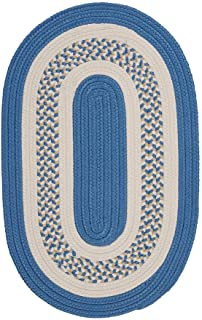 product image for Flowers Bay Oval Area Rug, 8 by 11-Feet, Blue