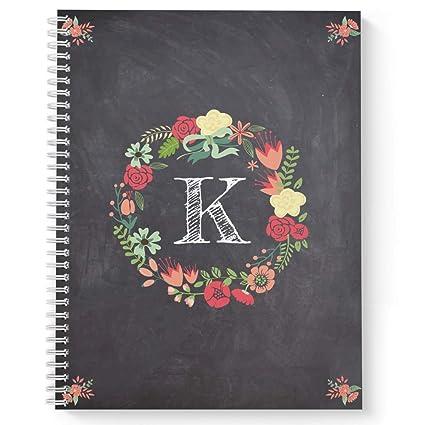 Cuaderno/diario de espiral con diseño floral sobre pizarra ...